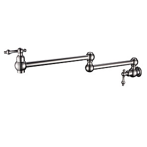 cheap Kitchen Faucets-Kitchen faucet - Two Handles One Hole Nickel Brushed Pot Filler Wall Mounted Antique / Traditional Kitchen Taps