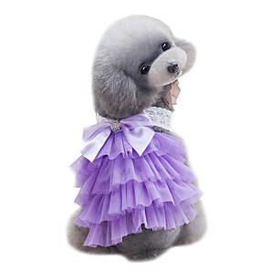 cheap Dog Clothes-Dog Dress Dog Clothes Light Blue Purple Pink Costume Chiffon Lace Wedding Fashion XS S M L XL