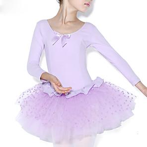 cheap Kids' Dancewear-Ballet Leotard / Onesie Ruffles Splicing Training Long Sleeve Natural Cotton