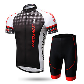 cheap Blush-XINTOWN Men's Short Sleeve Cycling Jersey with Shorts Lycra Black / Red 1# White+Gray Gradient Bike Clothing Suit Breathable Quick Dry Ultraviolet Resistant Back Pocket Limits Bacteria Sports Gradient