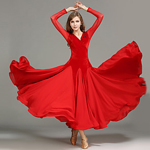 cheap Ballroom Dancewear-Ballroom Dance Dress Draping Splicing Women's Performance Long Sleeve Natural Tulle Velvet