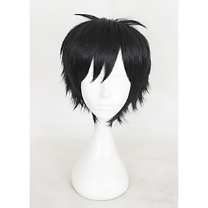 cheap Synthetic Trendy Wigs-Synthetic Wig Cosplay Wig Straight kinky Straight kinky straight Straight With Bangs Wig Short Natural Black Synthetic Hair Women's Black
