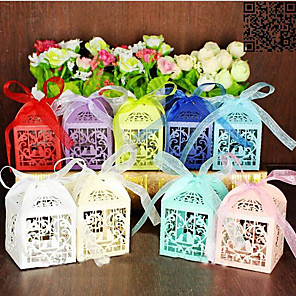 cheap Favor Holders-Pearl Paper Favor Holder with Ribbons Favor Boxes / Gift Boxes - 100