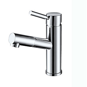 cheap Bathroom Sink Faucets-Contemporary Art Deco/Retro Centerset Pullout Spray Ceramic Valve Single Handle One Hole Chrome, Bathroom Sink Faucet