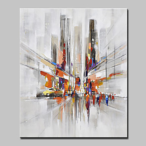 cheap Abstract Paintings-Mintura® Hand Painted Modern Abstract City Streets Oil Painting On Canvas Wall Art Picture For Home Decoration Ready To Hang