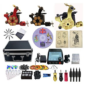 cheap Professional Tattoo Kits-BaseKey Professional Tattoo Kit Tattoo Machine - 3 pcs Tattoo Machines LED power supply 3 alloy machine liner & shader / Case Included