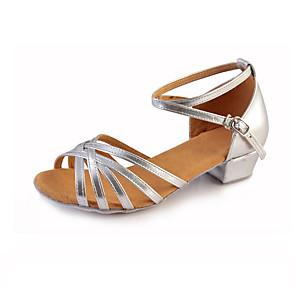 cheap Kids' Dancewear-Girls' Latin Shoes Flat Sandal Sneaker Low Heel Elastic Fabric Ribbon Tie Ruched Flower Almond / Leopard / Black / Indoor / Leather / EU39