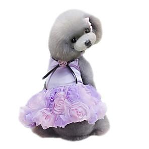 cheap Dog Clothes-Dog Dress Dog Clothes Purple Pink Gray Costume Chiffon Flower Wedding Fashion XS S M L XL