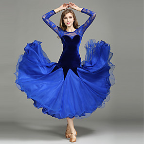 cheap Ballroom Dancewear-Ballroom Dance 1 x User's Manual Lace Splicing Women's Performance Long Sleeve Natural Lace Tulle Velvet
