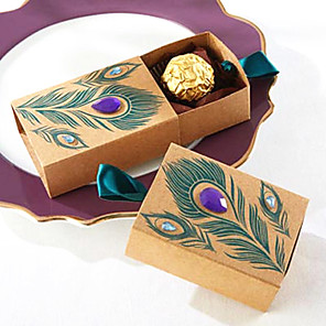 cheap Coaster Favors-Cuboid Card Paper Favor Holder with Ribbons Favor Boxes - 50