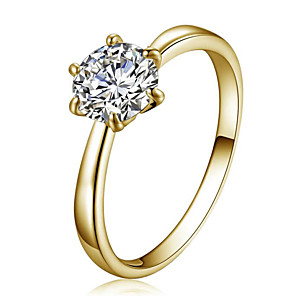 cheap Rings-Women's Ring Belle Ring Crystal Gold Crystal Zircon Cubic Zirconia Ladies Simple Style Fashion Wedding Party Jewelry Solitaire Round Cut Simulated Star / Imitation Diamond / Austria Crystal / Alloy