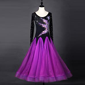 cheap Ballroom Dancewear-Ballroom Dance Dress Crystals / Rhinestones Women's Performance Long Sleeve Chinlon Organza