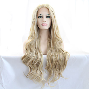cheap Synthetic Trendy Wigs-Synthetic Lace Front Wig Natural Wave Natural Wave Lace Front Wig Blonde Long Blonde Synthetic Hair 18-26 inch Women's Heat Resistant Natural Hairline Blonde