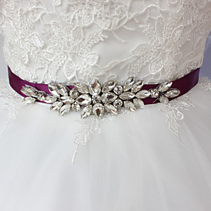cheap Party Sashes-Satin Wedding / Party / Evening / Dailywear Sash With Rhinestone / Beading Sashes
