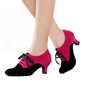 cheap Latin Shoes-Women's Dance Shoes Suede Modern Shoes Heel Cuban Heel Customizable Black / Black / Red / Fuchsia / Indoor