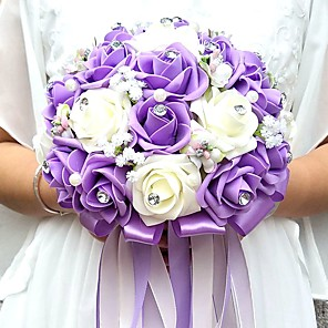 "cheap Wedding Flowers-Wedding Flowers Bouquets / Unique Wedding Décor Special Occasion / Party / Evening Bead / Rhinestone / Foam 9.84""(Approx.25cm)"