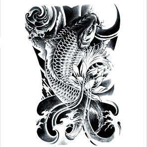 cheap Tattoo Stickers-lc2814-21-15cm-3d-large-big-tatoo-sticker-sketch-black-golden-fish-drawing-designs-cool-temporary-tattoo-stickers