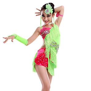 cheap Kids' Dancewear-Latin Dance Dress Tassel Crystals / Rhinestones Performance Sleeveless Natural Milk Fiber