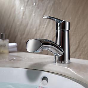 cheap Bathroom Sink Faucets-Contemporary Art Deco/Retro Centerset Pullout Spray Ceramic Valve Single Handle One Hole Chrome, Bathroom Sink Faucet