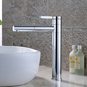 cheap Bathroom Sink Faucets-Contemporary Modern Centerset Rotatable Ceramic Valve Single Handle One Hole Chrome, Bathroom Sink Faucet
