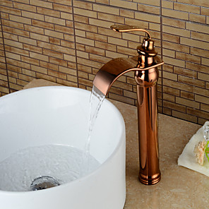 cheap Bathroom Sink Faucets-Vintage Waterfall Bathroom Sink Faucet - Cooper Rose Gold Centerset Single Handle One HoleBath Taps / Brass