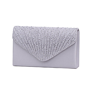 cheap Women's Boots-Women's Crystal / Rhinestone Polyester Evening Bag / Tri-fold Wedding Bags Black / Wine / Almond