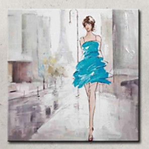 cheap Abstract Paintings-High Skill Artist Hand Painted Oil Painting Art Lady with Blue Dress Unformed Decoartion Canvas Paintings for Coffee Store With Frame
