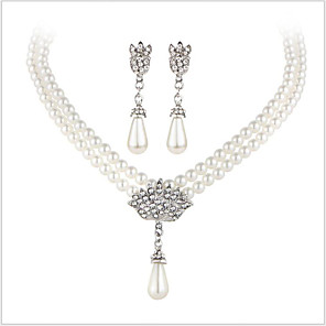 cheap Earrings-Crystal Jewelry Set Ladies Luxury Bridal Pearl Imitation Pearl Rhinestone Earrings Jewelry Silver For Wedding Party Daily Casual Masquerade Engagement Party / Imitation Diamond