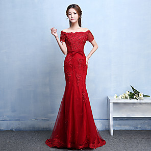 cheap Earrings-A-Line Formal Evening Dress Bateau Neck Boat Neck Short Sleeve Floor Length Tulle with Sash / Ribbon 2020