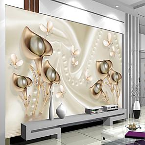 cheap Wallpaper-Wallpaper Mural Embossed Lily Living Room Bedroom TV Background Wall448×280cm