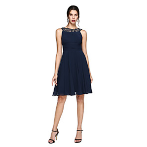cheap Cocktail Dresses-A-Line Minimalist Blue Wedding Guest Cocktail Party Dress Illusion Neck Sleeveless Knee Length Chiffon with Ruched Sequin Lace Insert 2020