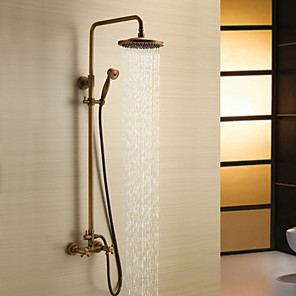 cheap Shower Faucets-Shower Faucet - Antique Antique Brass Shower System Ceramic Valve Bath Shower Mixer Taps / Two Handles Three Holes