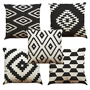 cheap Throw Pillow Covers-Set of 5 Linen Natural / Organic Pillow Cover Pillow Case, Solid Colored Floral Plaid Casual Retro Traditional / Classic Throw Pillow
