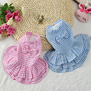 cheap Dog Clothes-Cat Dog Dress Dog Clothes Blue Pink Costume Cotton Plaid / Check S M L XL