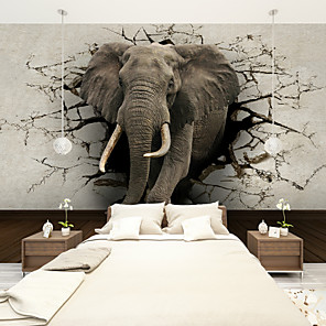 cheap Wall Stickers-Floral Art Deco 3D Home Decoration Contemporary Wall Covering, Canvas Material Adhesive required Mural, Room Wallcovering