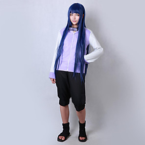 cheap Anime Costumes-Inspired by Naruto Hinata Hyuga Anime Cosplay Costumes Japanese Cosplay Suits Solid Colored Long Sleeve Coat Shorts For Men's Women's