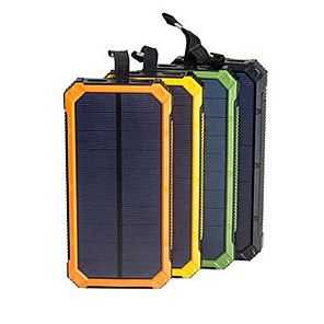cheap Phone Mounts & Holders-Solar Power Bank Waterproof 16000mAh Solar Charger Dual USB Ports External Charger Powerbank for Smartphone with LED Light