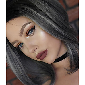 cheap Wedding Shoes-Synthetic Lace Front Wig Natural Wave Natural Wave Lace Front Wig Medium Length Grey Synthetic Hair Women's Natural Hairline Gray