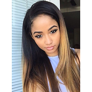 cheap 3 Bundles Human Hair Weaves-Unprocessed Human Hair Glueless Lace Front / Lace Front Wig Brazilian Hair Wig 130% Ombre Hair / Natural Hairline / African American Wig Women's Long Human Hair Lace Wig / Straight