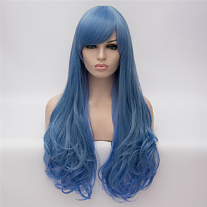 cheap Synthetic Trendy Wigs-Synthetic Wig Cosplay Wig Natural Wave Natural Wave Wig Long Blue Synthetic Hair Women's Blue