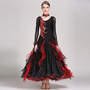 cheap Dancewear-Ballroom Dance Dress Appliques Crystals / Rhinestones Women's Training Performance Long Sleeve Natural Spandex Tulle