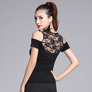 cheap Latin Dancewear-Latin Dance Top Women's Training Short Sleeves Natural Modal