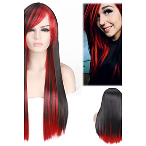 cheap Synthetic Trendy Wigs-Synthetic Wig Straight Straight Wig Long Black / Red Synthetic Hair Black