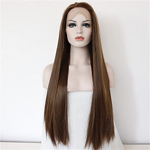 cheap Synthetic Lace Wigs-Synthetic Lace Front Wig Straight Straight Lace Front Wig Long Brown Synthetic Hair Women's Natural Hairline Middle Part Brown