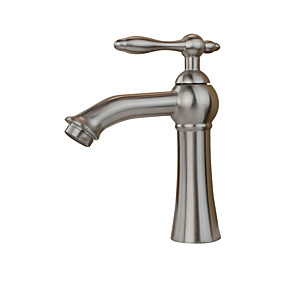 cheap Bathroom Sink Faucets-Contemporary Art Deco/Retro Country Standard Spout Vessel Rain Shower Widespread Ceramic Valve Single Handle One Hole Stainless Steel,