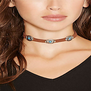 cheap Choker Necklaces-Women's Choker Necklace Ladies Basic Bohemian Vintage Alloy Black Brown Necklace Jewelry For Daily Casual