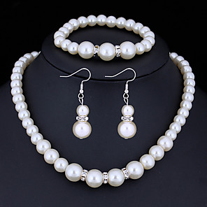 cheap Jewelry Sets-Women's Crystal Jewelry Set Ladies Basic Imitation Pearl Rhinestone Earrings Jewelry White For Christmas Gifts Wedding Party Special Occasion Anniversary Birthday