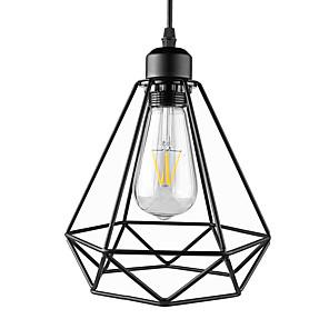 cheap Pendant Lights-1-Light Vintage Black Metal Cage Loft Mini Pendant Lights Living Room Dining Room Hallway Cafe Bars Light Fixture