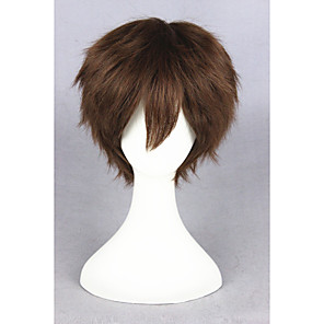 cheap Costume Wigs-Synthetic Wig Cosplay Wig Straight Straight Wig Short Brown Synthetic Hair Women's Brown