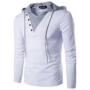 cheap Women's Sandals-Men's T-shirt Solid Colored Patchwork Slim Tops Cotton Active Street chic Hooded White Black / Long Sleeve